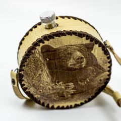 Фляга круглая в кожаном чехле Медведь, 500 мл, фото 2