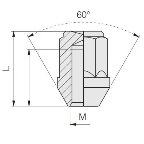 Гайка колёсная М14x1.5 длина=35,5мм ключ=19мм с кольцом