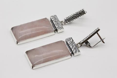 Серьги из серебра 925 с розовым кварцем Литва
