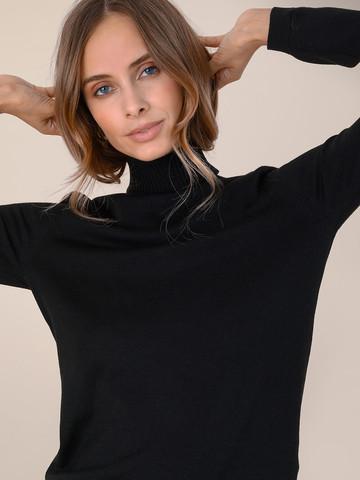 Женский свитер черного цвета из шерсти и шелка - фото 3