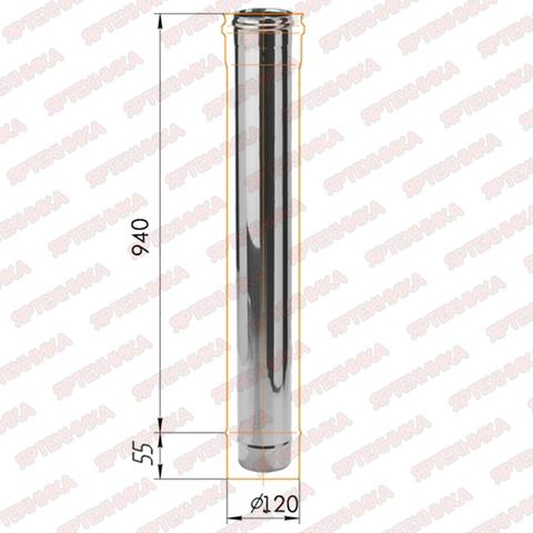 Труба моно 1,0м d120мм (430/0,5мм) Ferrum