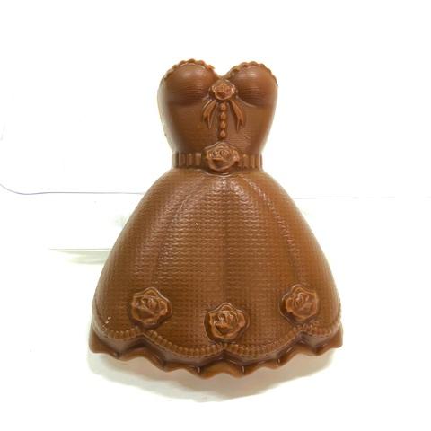 Пластиковая форма для шоколада жен. ПЛАТЬЕ №2 с розочками 70х100мм