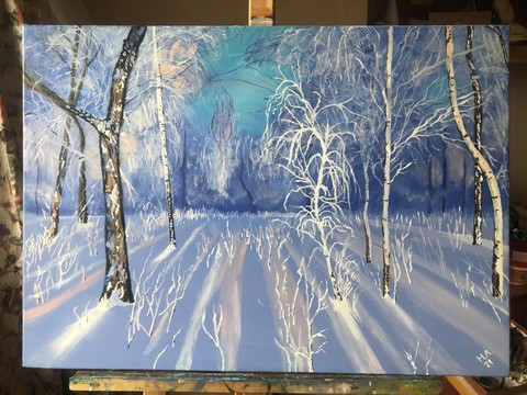 Картина маслом на холсте Зимний лес. 50х70 см ручная работа