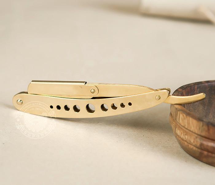 RAZ227 Опасная бритва (шаветка) со сменными лезвиями золотого цвета фото 02