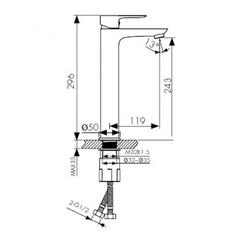 Смеситель KAISER Cezar 05111 для раковины высокий схема