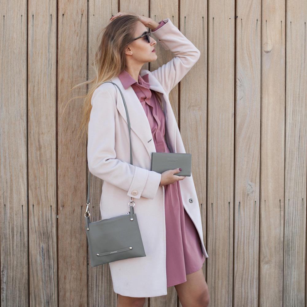Женская сумка Julie Easy из натуральной кожи теленка, стального цвета
