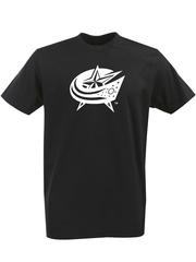 Футболка с однотонным принтом НХЛ Коламбус Блю Джекетс (NHL Columbus Blue Jackets) черная 002