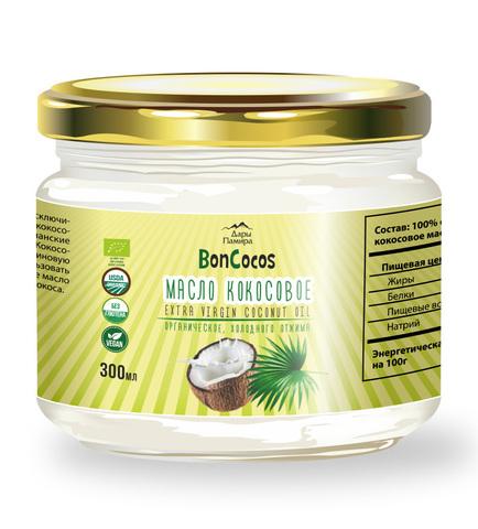 Масло кокосовое холодного отжима BONCOCOS, органическое, 300 мл