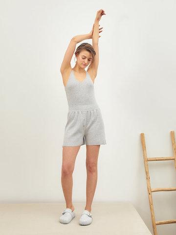 Женские шорты серого цвета из вискозы - фото 2