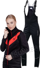 Женский утеплённый лыжный костюм Nordski Base Black-Red с высокой спинкой