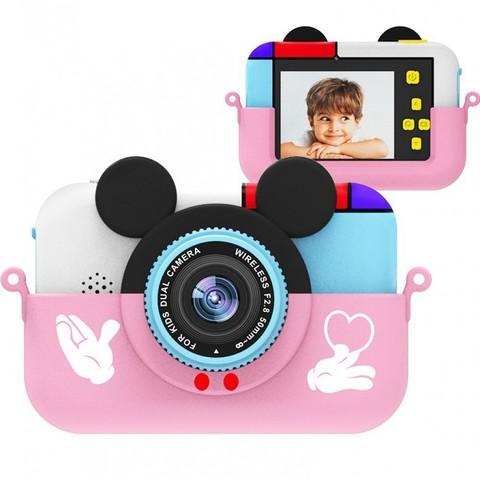 Детский цифровой фотоаппарат Микки Маус Розовый  2 камеры