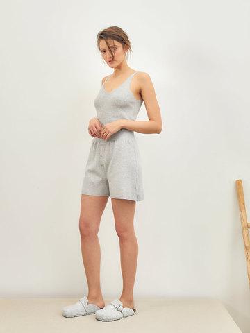 Женские шорты серого цвета из вискозы - фото 4