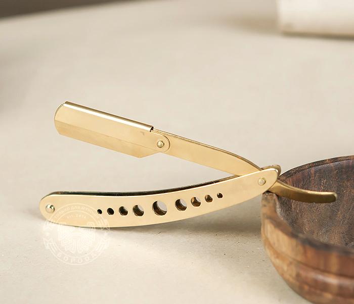 RAZ227 Опасная бритва (шаветка) со сменными лезвиями золотого цвета фото 03