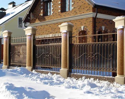 Кованый забор с поликарбонатом N-7