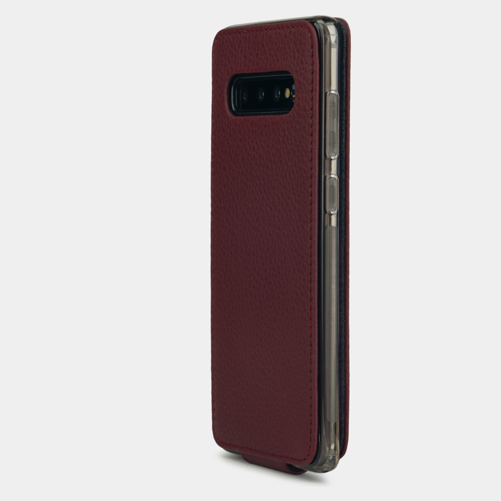 Чехол для Samsung Galaxy S10 из натуральной кожи теленка, бордового цвета