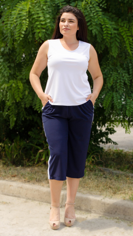 Бетти. Стильные брюки плюс сайз. Синий.