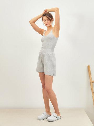 Женские шорты серого цвета из вискозы - фото 3