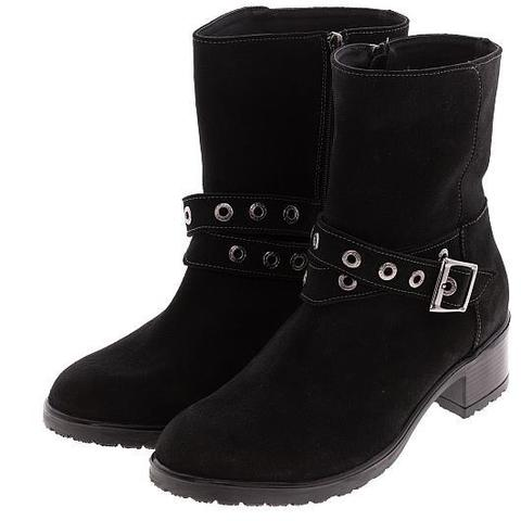 576402 Полусапожки женские черные замша. КупиРазмер — обувь больших размеров марки Делфино