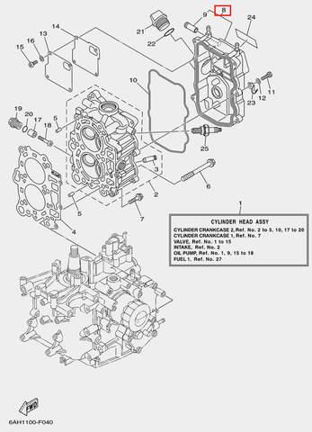 Крышка головки блока цилиндров для лодочного мотора F20 Sea-PRO (4-8)