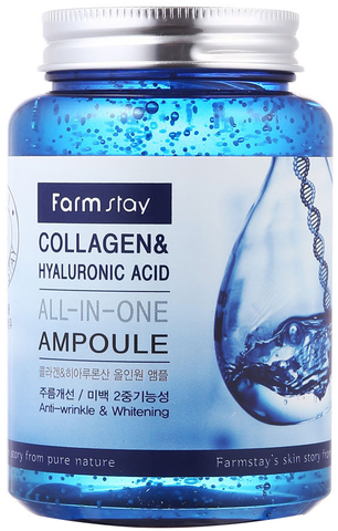 Многофункциональная ампульная сыворотка с гиалуроновой кислотой и коллагеном FarmStay, 250 мл