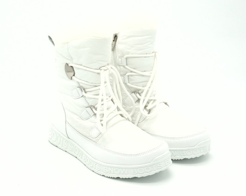 Ботинки зима белого цвета из текстиля