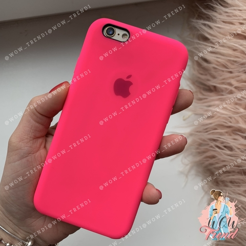 Чехол iPhone 6/6s Silicone Case /electric pink/ ярко розовый 1:1