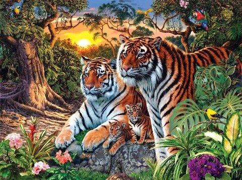 Алмазная Мозаика 5D 40x50 Семья тигров готовится ко сну (арт.LTH0616)