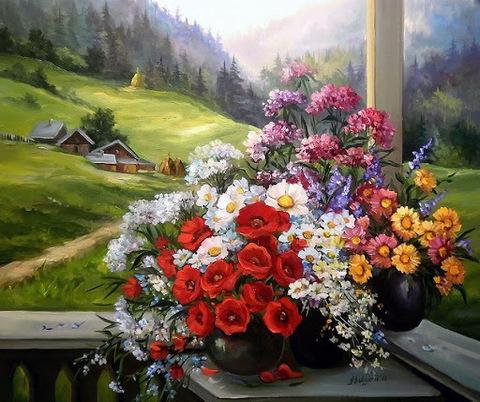 Алмазная Мозаика 40x50 Букеты цветов на окне (арт. GA70529 )