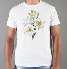 Футболка с принтом Цветы (Лилии) белая 0011