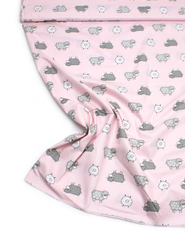 Овечки серо-белые на розовом фоне
