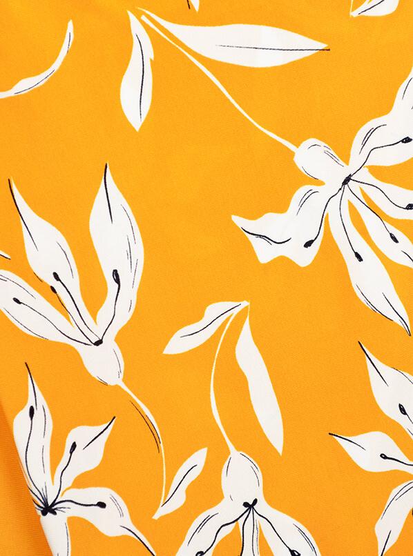 Платье Аврора, цветы на горчичном