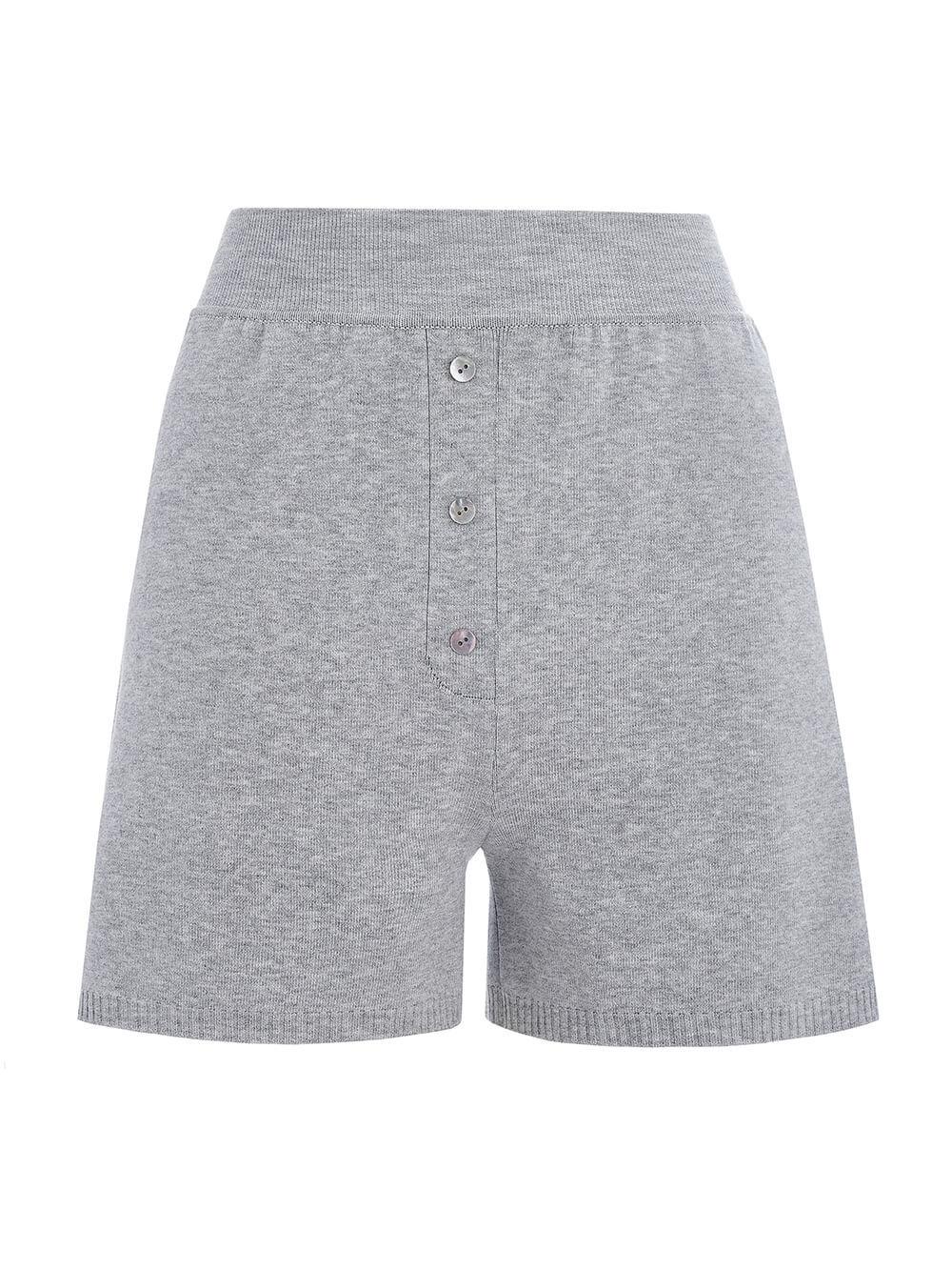 Женские шорты серого цвета из вискозы - фото 1