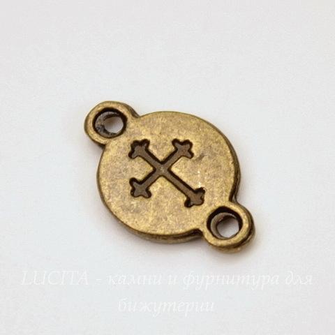 Сеттинг - основа - коннектор (1-1) 16х10 мм для камеи или кабошона 8,5 мм (цвет - античная бронза)
