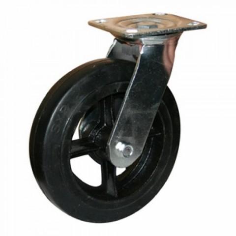 Колесная опора большегрузная обрезиненная поворотная d6 160мм (039)