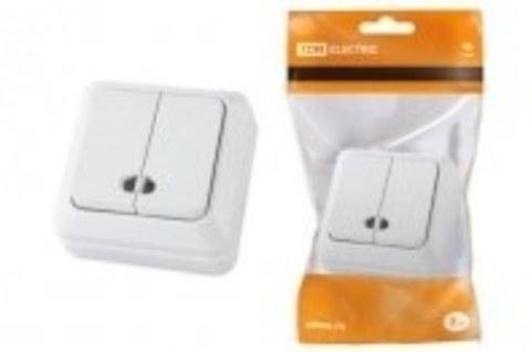 Выключатель 2 клав.накладной Ладога TDM белый