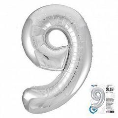 Р Цифра, 9, Slim, Серебро, в упаковке 40''/102 см,  1 шт.