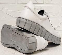 Женские белые кожаные кеды кроссовки на грубой подошве Guero G146 508 04 White Gray.