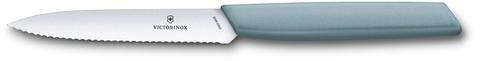Нож Victorinox для овощей и фруктов, лезвие 10 см волнистое, серо-голубой
