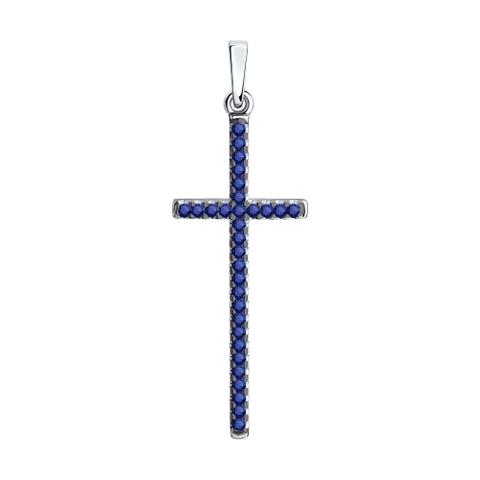 94032447 - Подвеска Крест из серебра с синими фианитами