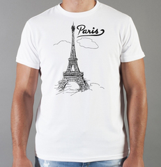 Футболка с принтом Париж, Франция, Эйфелева башня (France/ Paris) белая 0010