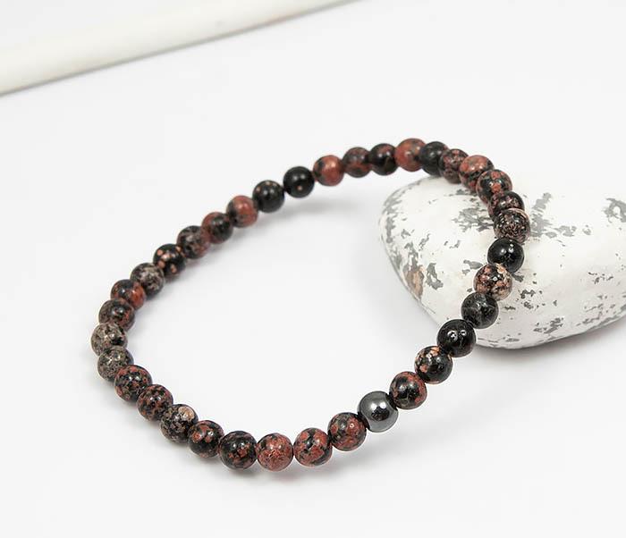 BS761 Мужской браслет из натурального камня яшмы, ручная работа