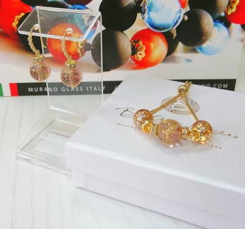 Комплект из браслета и серег со стразами Allegra Ca'D'oro Amethyst Gold CC040O