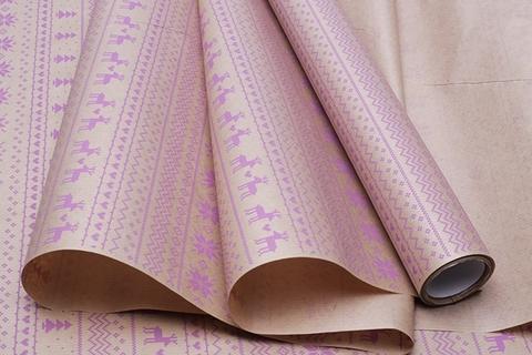 Бумага крафт 40г/м2, 70 см x 10 м, Орнаменты, цвет: лиловый