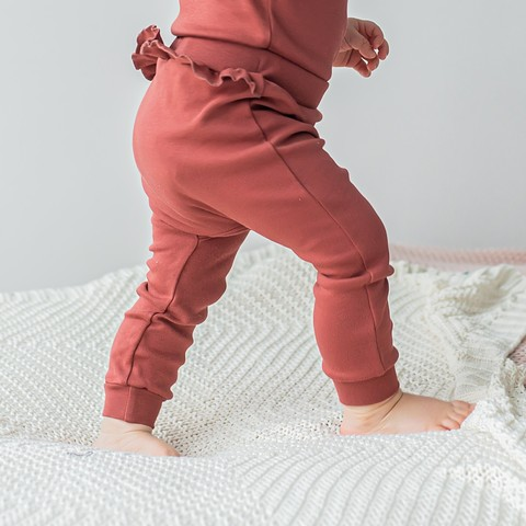 Ruffled leggings 0+, Marsala