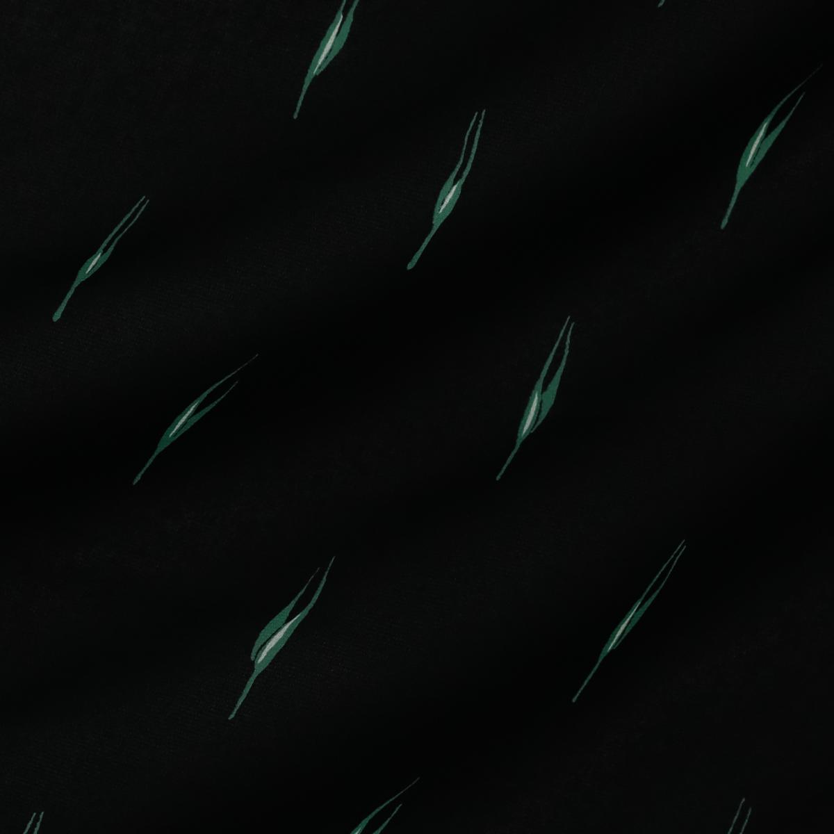 Плательный шёлковый креп чёрного цвета с зелёными акцентами