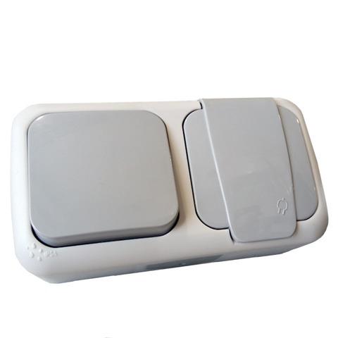 Выключатель одинарный + розетка с заземлением накладная герметичная VIKO