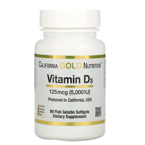 Витамин D3, 125 мкг (5000 МЕ), 90 желатиновых мягких таблеток в форме рыб California Gold Nutrition