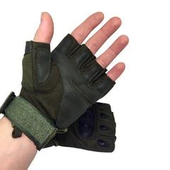 Перчатки тактические с вставкой, без пальцев, олив.