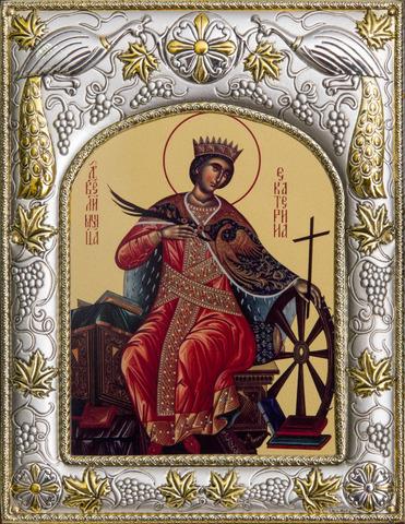 Серебряная икона именная Святая великомученица Екатерина 18x14см