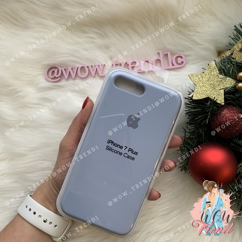 Чехол iPhone 7+/8+ Silicone Case /lilac cream/ голубой 1:1